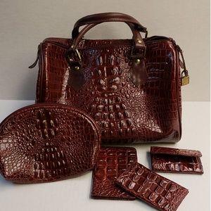 5 Pc Set Burgundy Crocodile Embossed Women Satchel